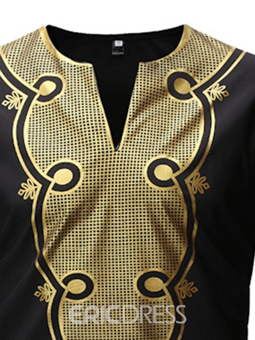 Ericdress African Fashion Dashiki Casual Color Block V-Neck Slim Mens Shirt