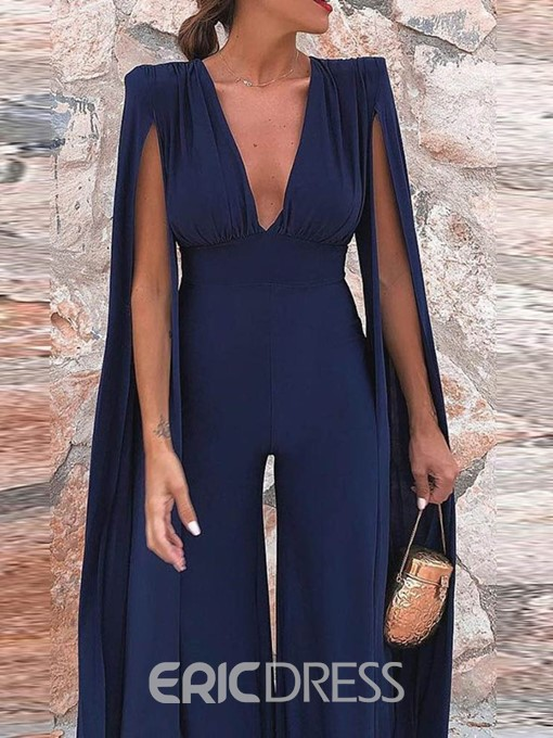 Ericdress Sexy Full Length Plain Office Lady Loose Jumpsuit
