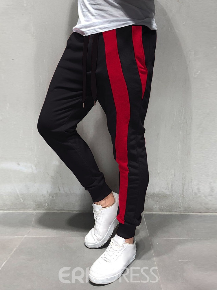 Ericdress Lace-Up Color Block Sports Mid Waist Mens Casual Pants