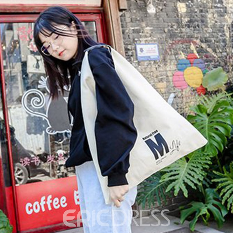 Ericdress Letter Canvas Print Shoulder Bags