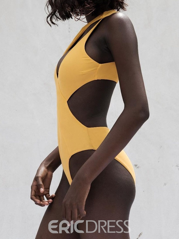 Ericdress Asymmetric One Piece Plain Swimwear