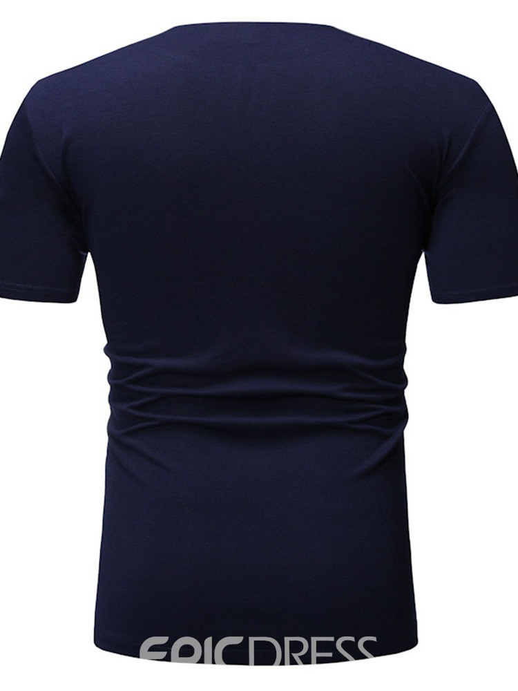 Ericdress V-Neck Color Block Casual Short Sleeve Mens Slim T-shirt