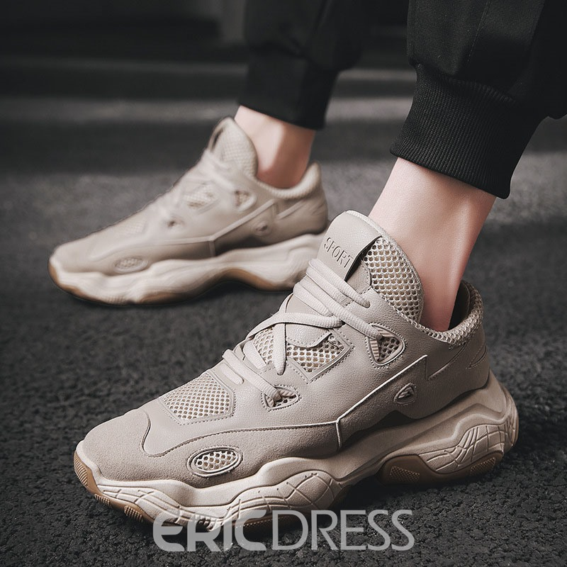 Ericdress Mesh Round Toe Color Block Lace-Up Men's Athletic Shoes