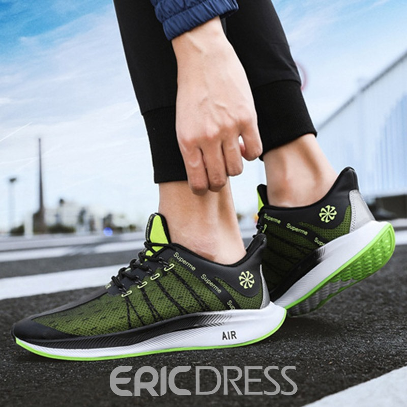 Ericdress Breathable Mesh Color Block Lace-Up Round Toe Men's Sneakers