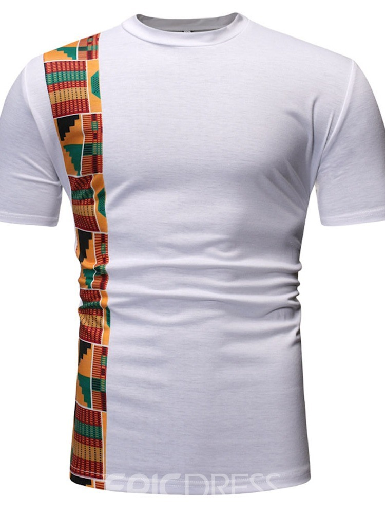 Ericdress Color Block Round Neck Patchwork Slim Mens Short Sleeve T-shirt