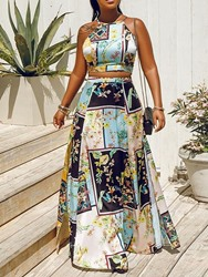 Ericdress African Fashion Floral Print A-Line Split Vest And Skirt Two Piece Sets thumbnail