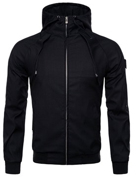 Ericdress Hooded Zipper Plain Spring Mens Casual Jacket