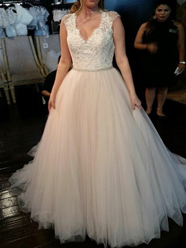 Ericdress V-Neck Beading Appliques Plus Size Wedding Dress 2019