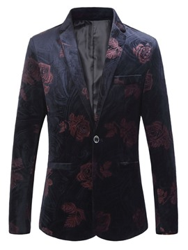 Ericdress Slim Notched Lapel Mens Floral Blazer