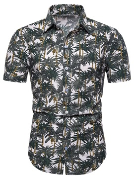 Ericdress Button Casual Plant Single-Breasted Mens Shirt
