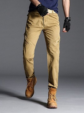 Ericdress Plain Zipper Mid Waist Mens Casual Pants