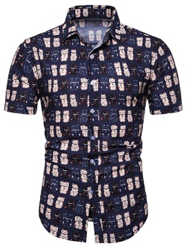 Ericdress Animal Print Casual Summer Mens Single-Breasted Shirt