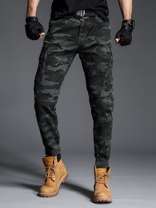 Ericdress Camouflage Pocket Mid Waist Mens Casual Pants