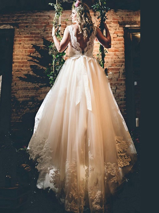 Ericdress A-Line Sashes Appliques Wedding Dress
