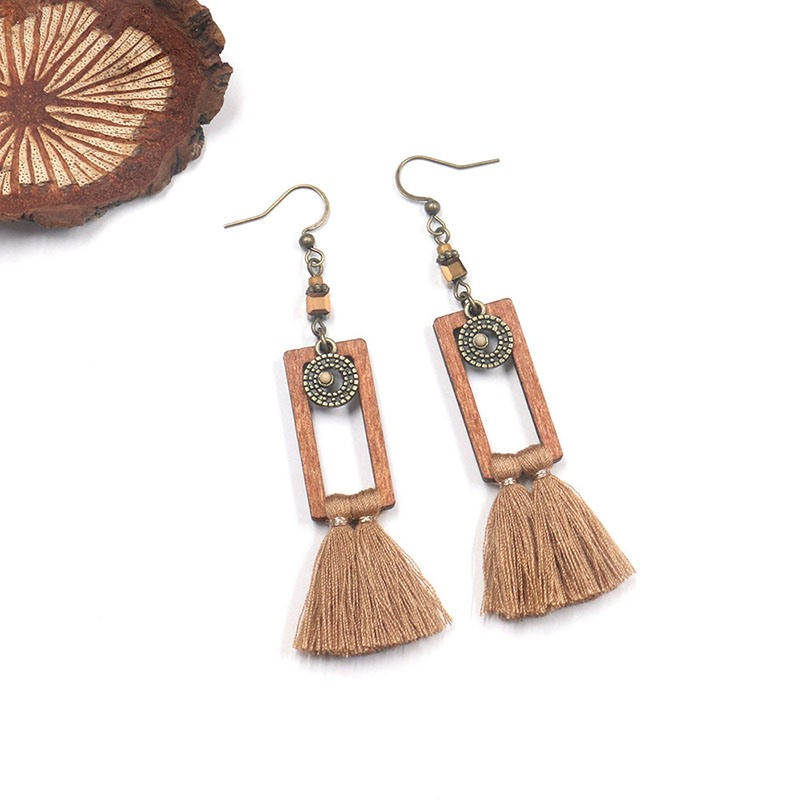 Ericdress Wood Tassels Prom Earrings