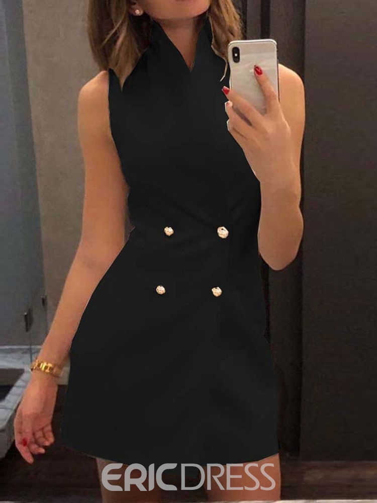 Ericdress Plain Double-Breasted Button Mid-Length Vest