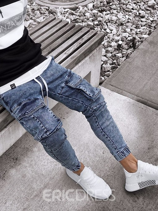 Ericdress Embroidery Pencil Pants Casual Mens Mid Waist Jeans