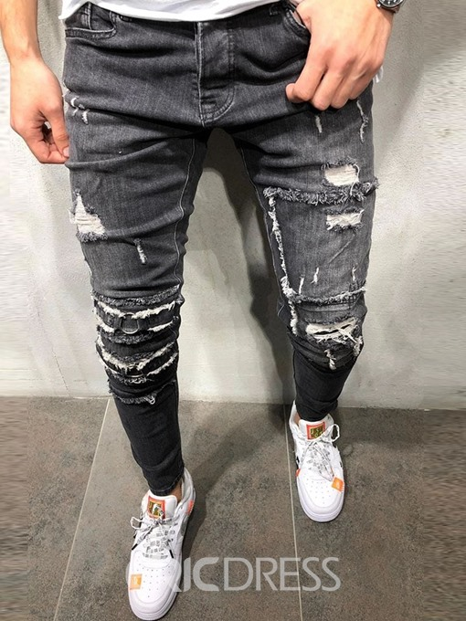 Ericdress Hole Pencil Pants Mid Waist Mens Casual Jeans