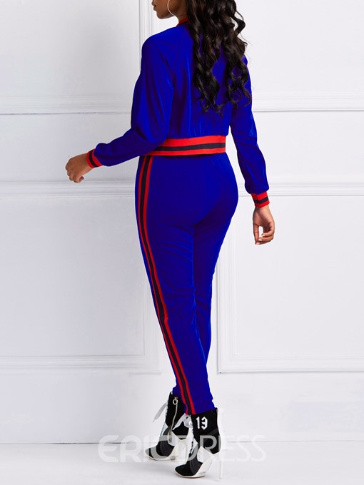Ericdress Patchwork Color Block Sports Zipper Jacket and Pants Two Piece Sets