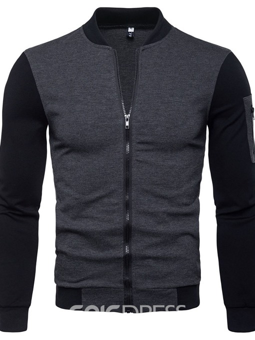 Ericdress Color Block Stand Collar Zipper Fall Mens Slim Jacket