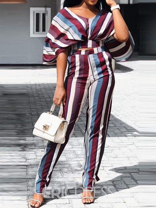 Ericdress Print Stripe Batwing Sleeve T-Shirt And Pants Two Piece Sets