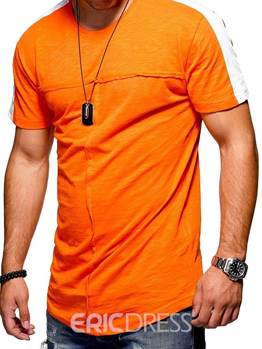 Ericdress Patchwork Round Neck Casual Slim Mens T-shirt
