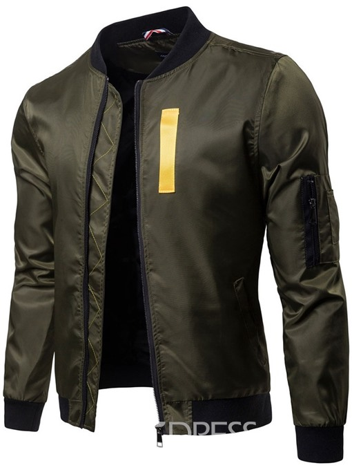 Ericdress Color Block Zipper Stand Collar Mens Casual Jacket