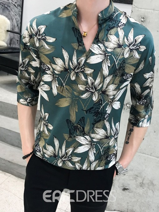 Ericdress Print Lapel Casual Slim Mens Summer Shirt