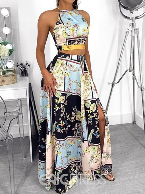 Ericdress African Fashion Floral Print A-Line Split Vest And Skirt Two Piece Sets