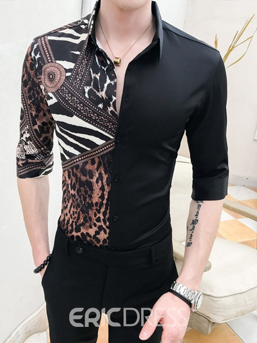 Ericdress Casual Button Lapel Summer Mens Slim Shirt