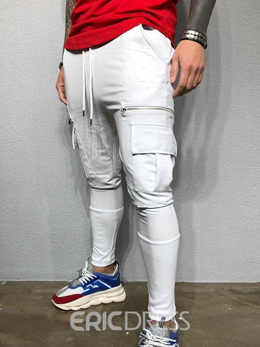 Ericdress Color Block Lace-Up Mid Waist Mens Casual Pants
