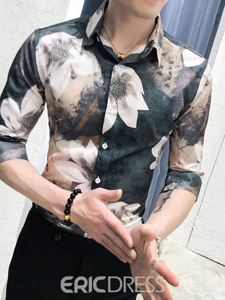 Ericdress Print Floral Casual Single-Breasted Mens Summer Shirt