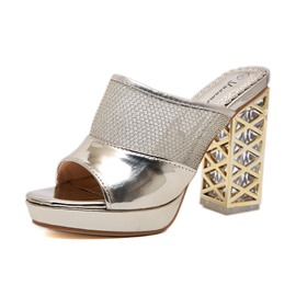 Ericdress Patchwork Hollow Chunky Heel Slip-On Women's Mules Shoes