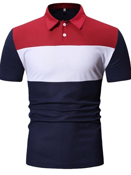 Ericdress Color Block Button Mens Polo Shirt