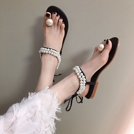 Ericdress Beads Thong Ankle Strap Women's Flat Sandals