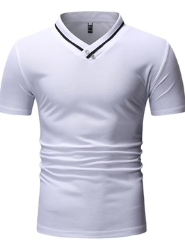 Ericdress V-Neck Color Block Casual Slim Mens Short Sleeve T-shirt