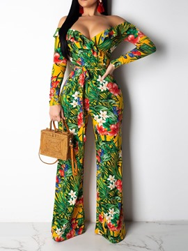 Ericdress Off-Shoulder Lace-Up Print Floral Slim Jumpsuit