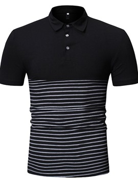 Ericdress Color Block Button Mens Casual Polo Shirt