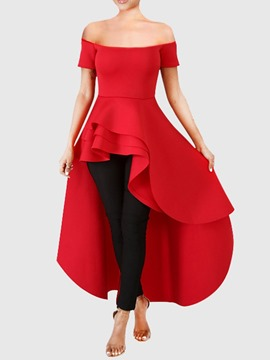 Ericdress Falbala Off Shoulder Short Sleeve Long Blouse