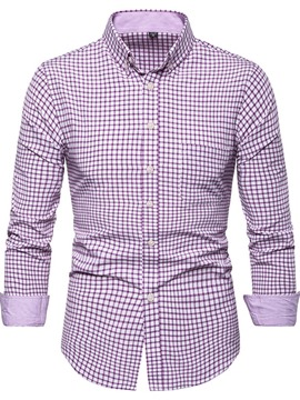 Ericdress Button Plaid Casual Single-Breasted Mens Slim Shirt