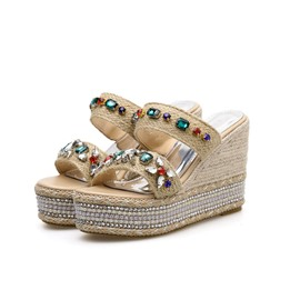 Ericdress Rhinestone Platform Wedge Heel Slip-On Women's Sandals
