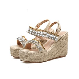 Ericdress Rhinestone Wedge Heel Ankle Strap Open Toe Women's Sandals