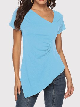 Ericdress Asymmetric Plain Short Sleeve T-Shirt