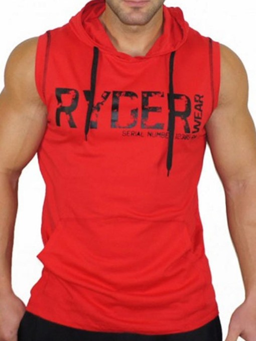 Ericdress Men Print Letter Sleeveless Hooded Gym Sports Tank Tops