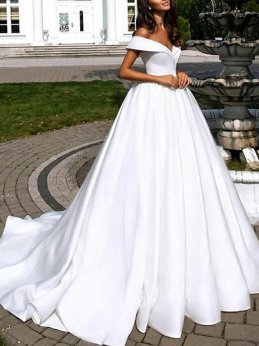 Ericdress Off-The-Shoulder Sleeveless Church Wedding Dress 2019