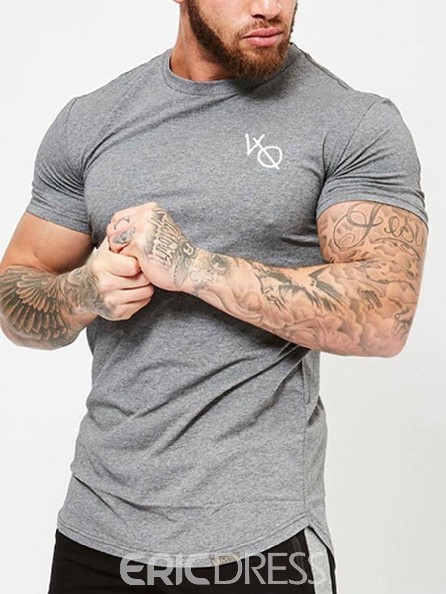 Ericdress Men Breathable Print Short Sleeve Pullover Gym Sports T-shirt