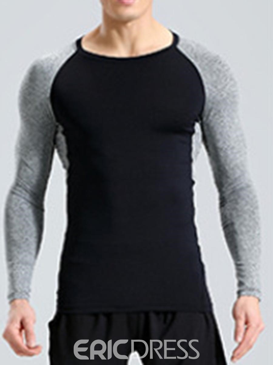 Ericdress Color Block Pullover Long Sleeve Quick Dry Gym Sports Tops