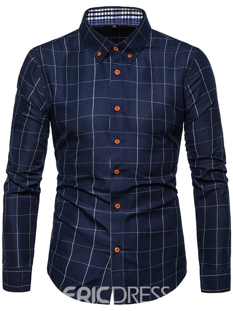 Ericdress Plaid Lapel Casual Single-Breasted Mens Slim Shirt