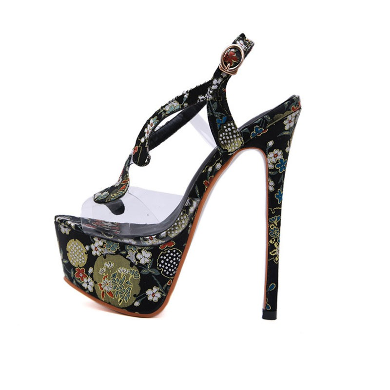 Ericdress Floral Stiletto Heel Buckle Open Toe Women's Sandals