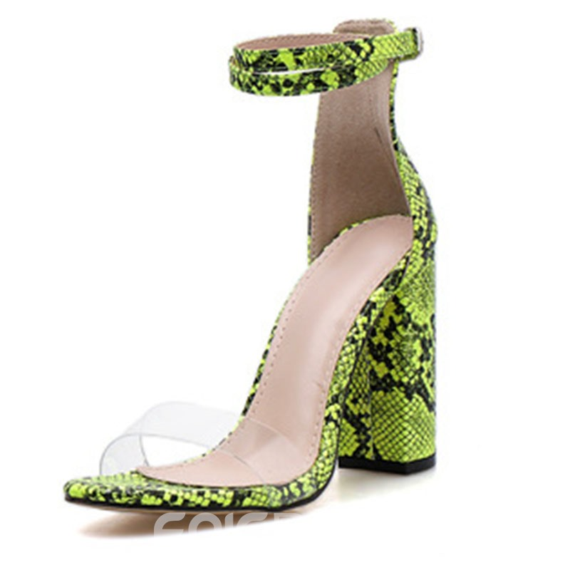 Ericdress Serpentine Buckle Heel Covering Chunky Heel Women's Sandals